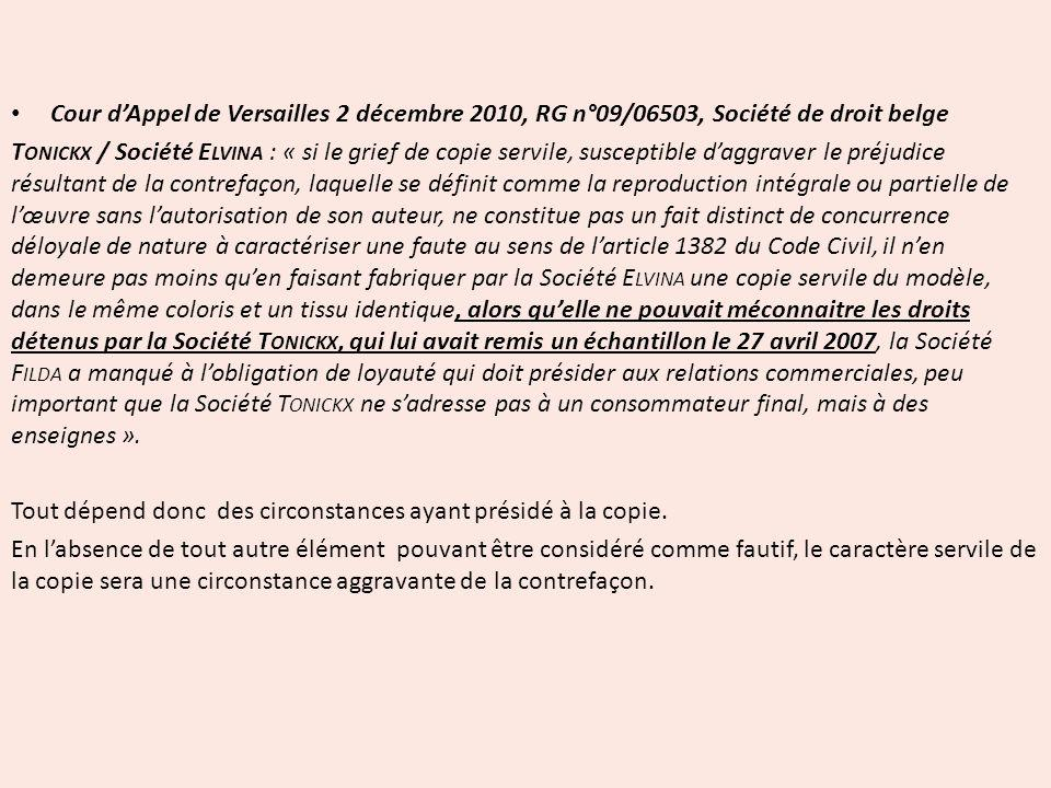 Cour d'Appel de Versailles 2 décembre 2010, RG n°09/06503, Société de droit belge