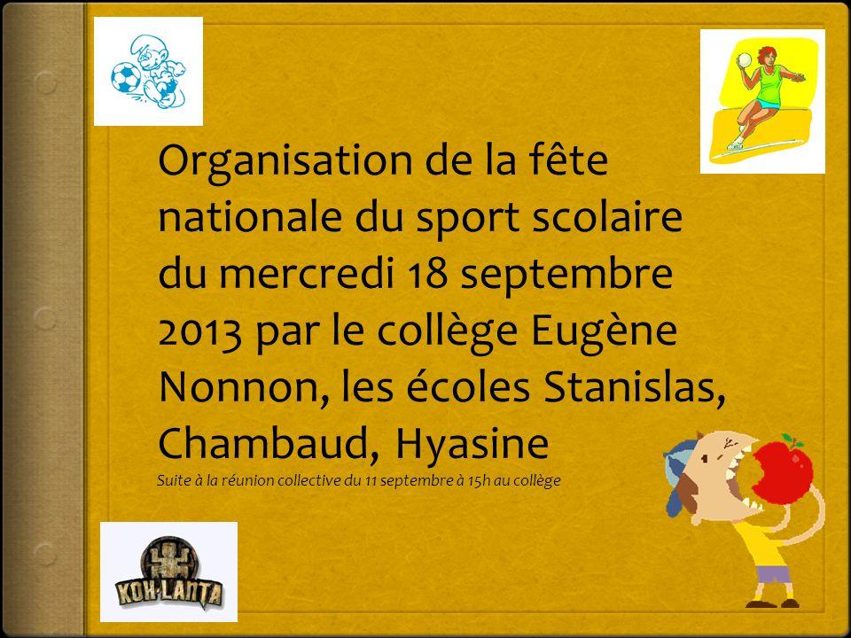 Organisation de la fête nationale du sport scolaire