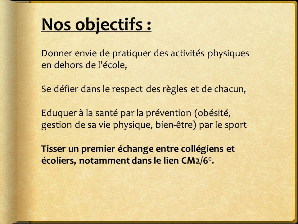 Nos objectifs : Donner envie de pratiquer des activités physiques en dehors de l'école, Se défier dans le respect des règles et de chacun,