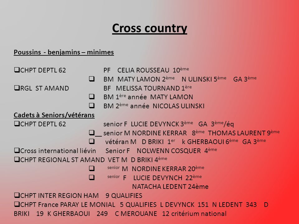 Cross country Poussins - benjamins – minimes