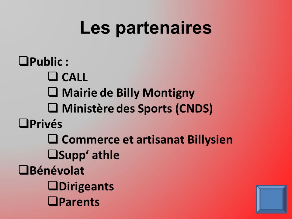 Les partenaires Public : CALL Mairie de Billy Montigny