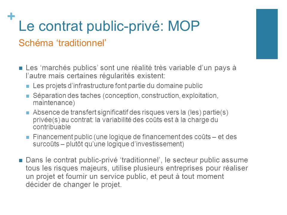 Le contrat public-privé: MOP