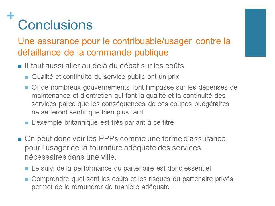 Conclusions Une assurance pour le contribuable/usager contre la défaillance de la commande publique.