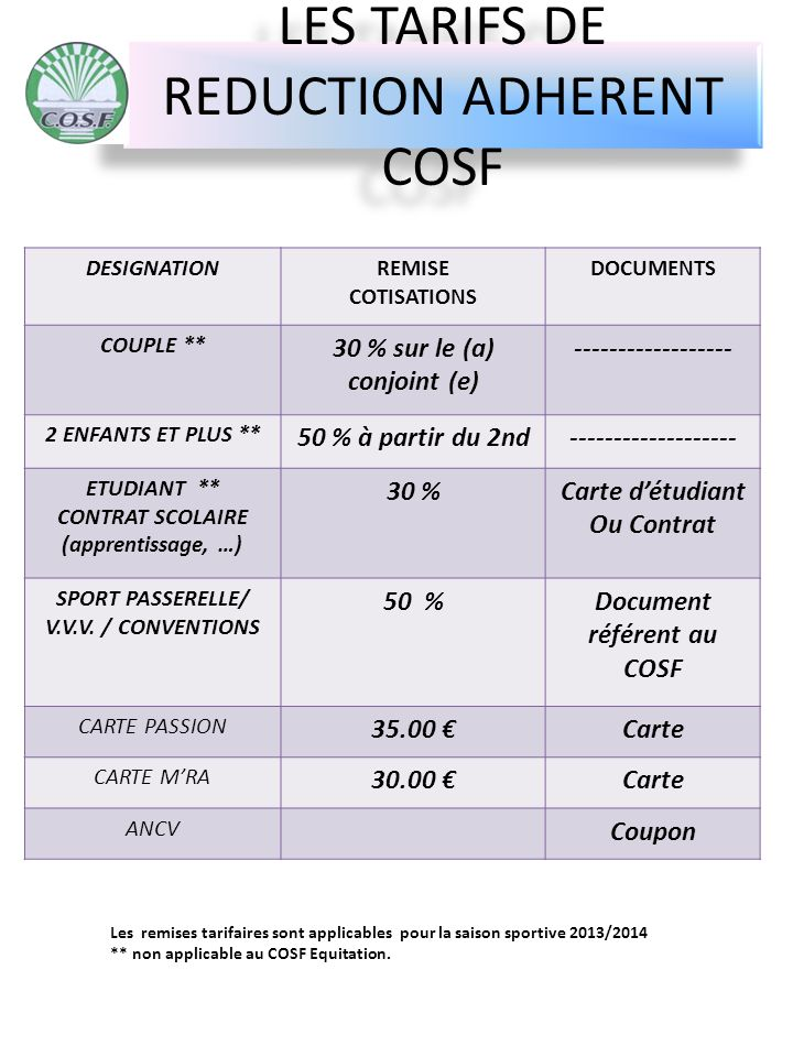 LES TARIFS DE REDUCTION ADHERENT COSF