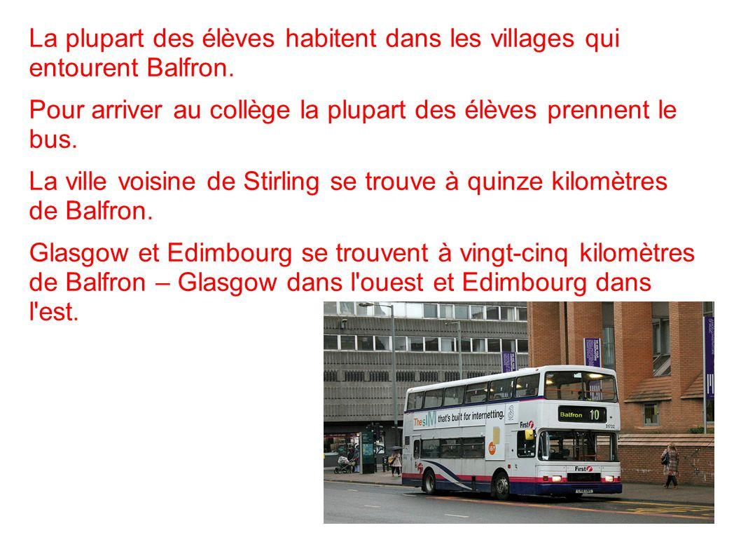 La plupart des élèves habitent dans les villages qui entourent Balfron.