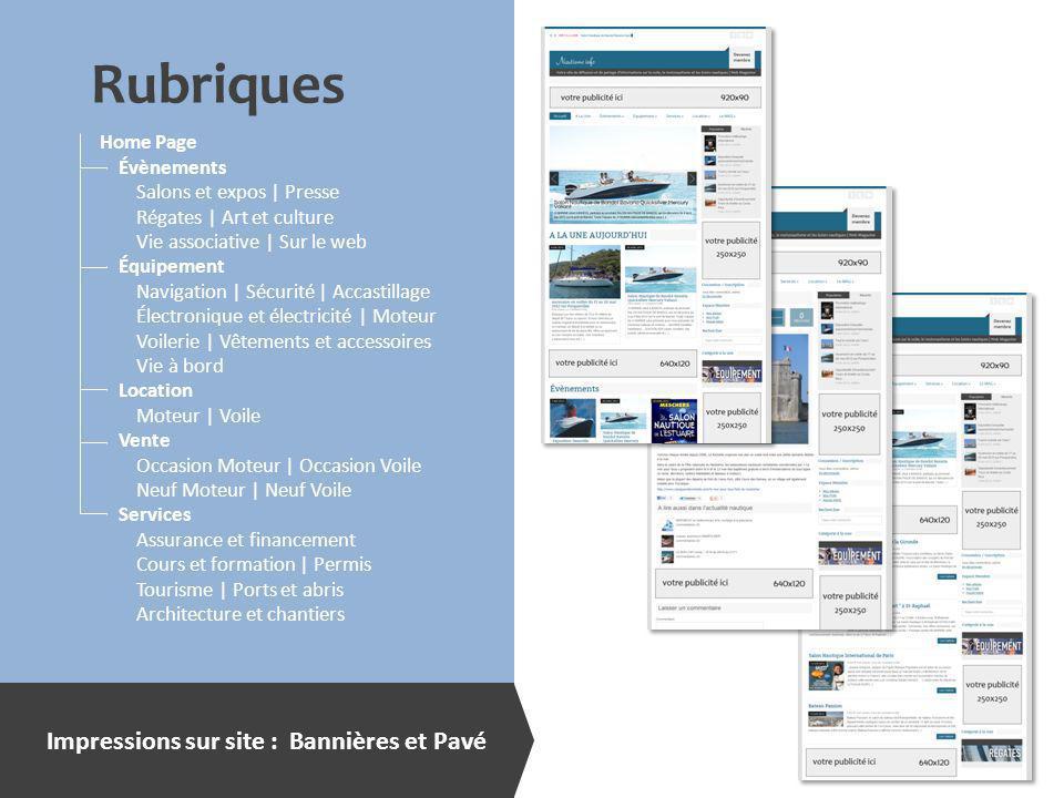 Rubriques Impressions sur site : Bannières et Pavé Home Page