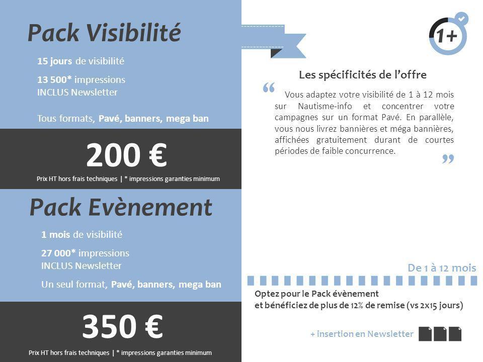 200 € 350 € Pack Visibilité 1+ Pack Evènement