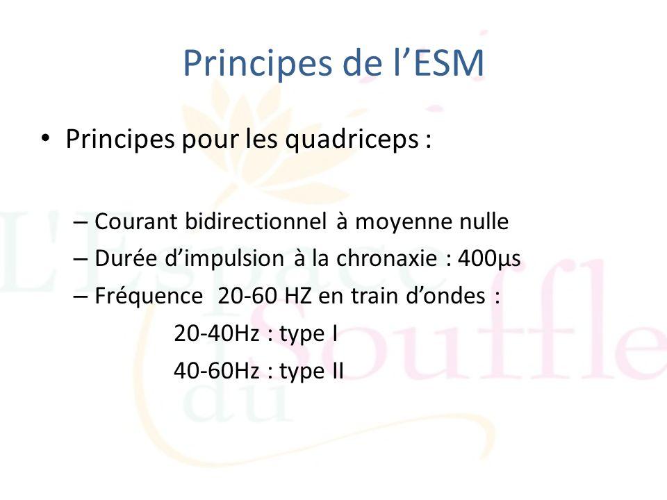 Principes de l'ESM Principes pour les quadriceps :