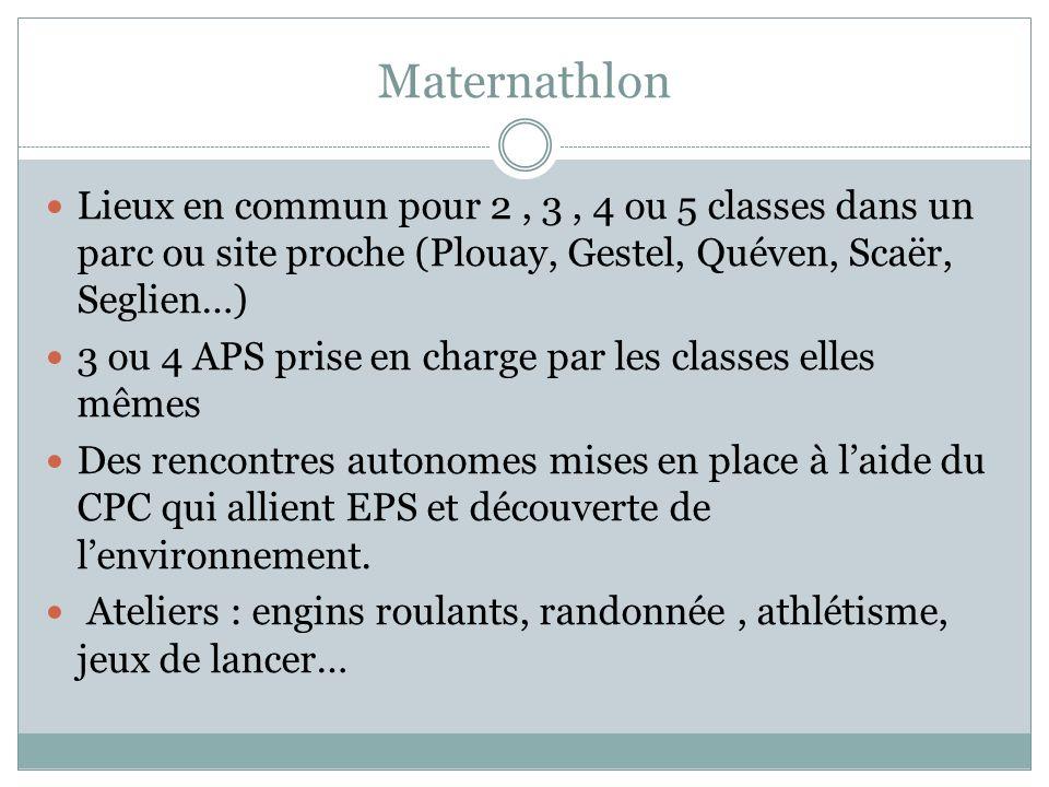 Maternathlon Lieux en commun pour 2 , 3 , 4 ou 5 classes dans un parc ou site proche (Plouay, Gestel, Quéven, Scaër, Seglien…)