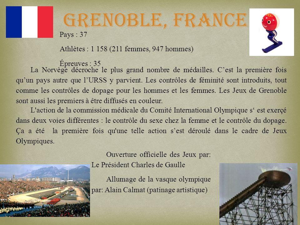 Grenoble, France Pays : 37 Athlètes : 1 158 (211 femmes, 947 hommes)