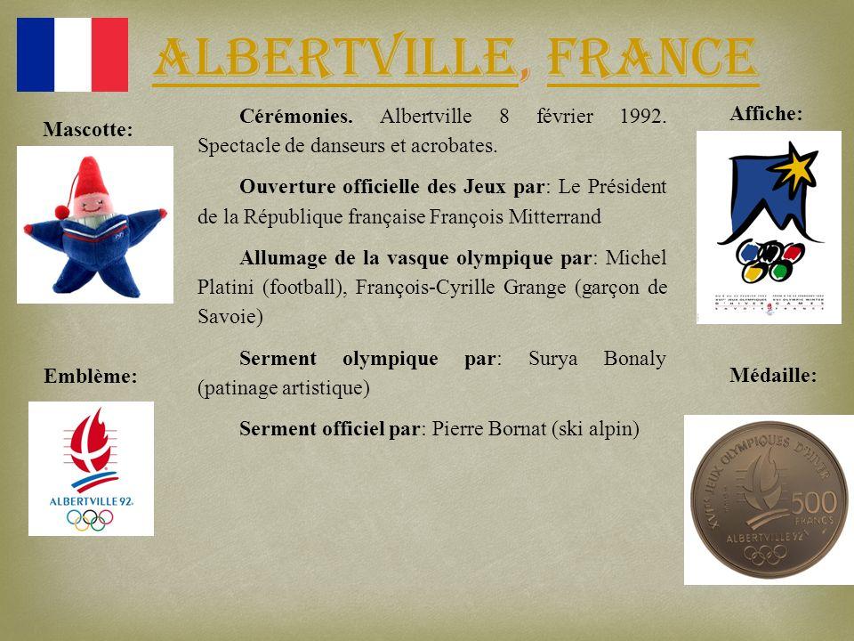Albertville, France Cérémonies. Albertville 8 février 1992. Spectacle de danseurs et acrobates.