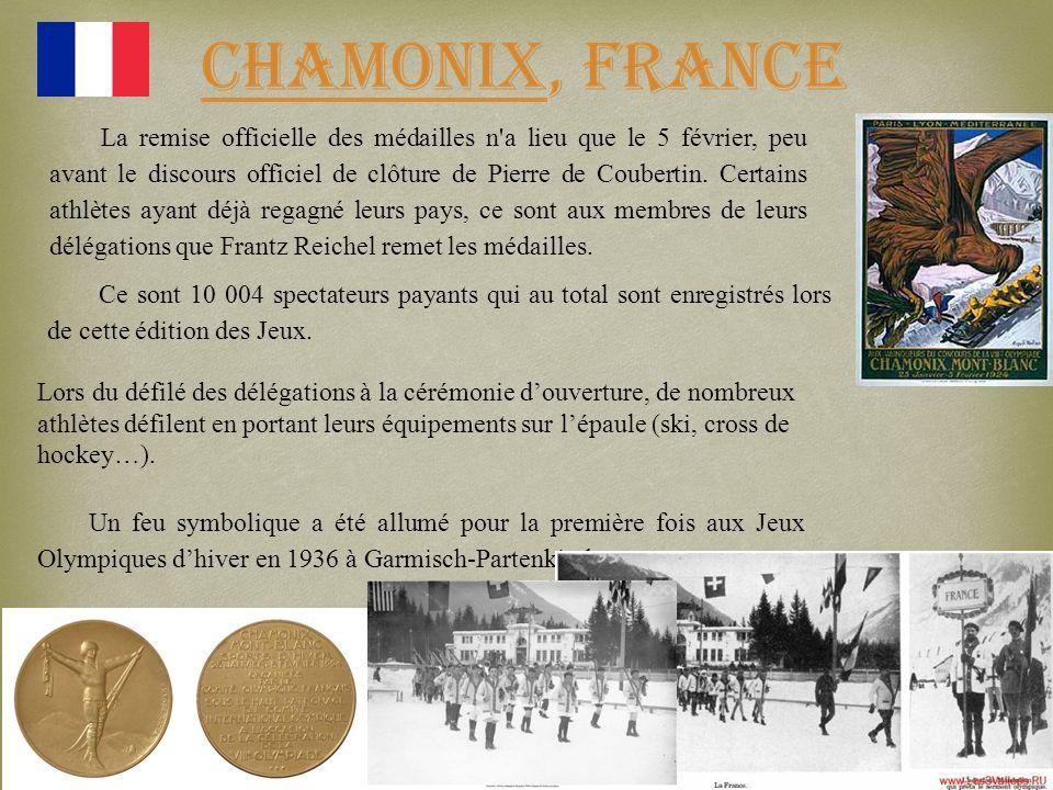 La remise officielle des médailles n a lieu que le 5 février, peu avant le discours officiel de clôture de Pierre de Coubertin. Certains athlètes ayant déjà regagné leurs pays, ce sont aux membres de leurs délégations que Frantz Reichel remet les médailles.