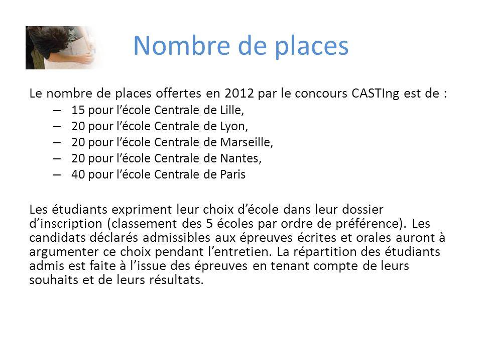 Nombre de places Le nombre de places offertes en 2012 par le concours CASTIng est de : 15 pour l'école Centrale de Lille,