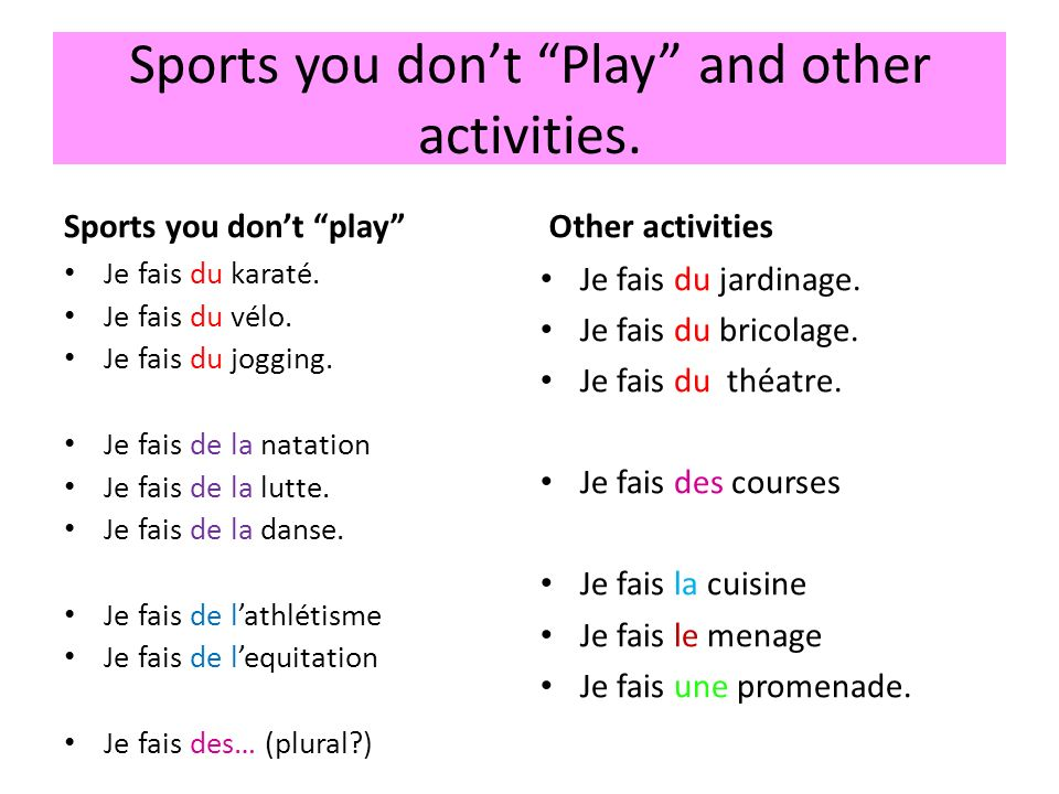 Sports you don't Play and other activities.