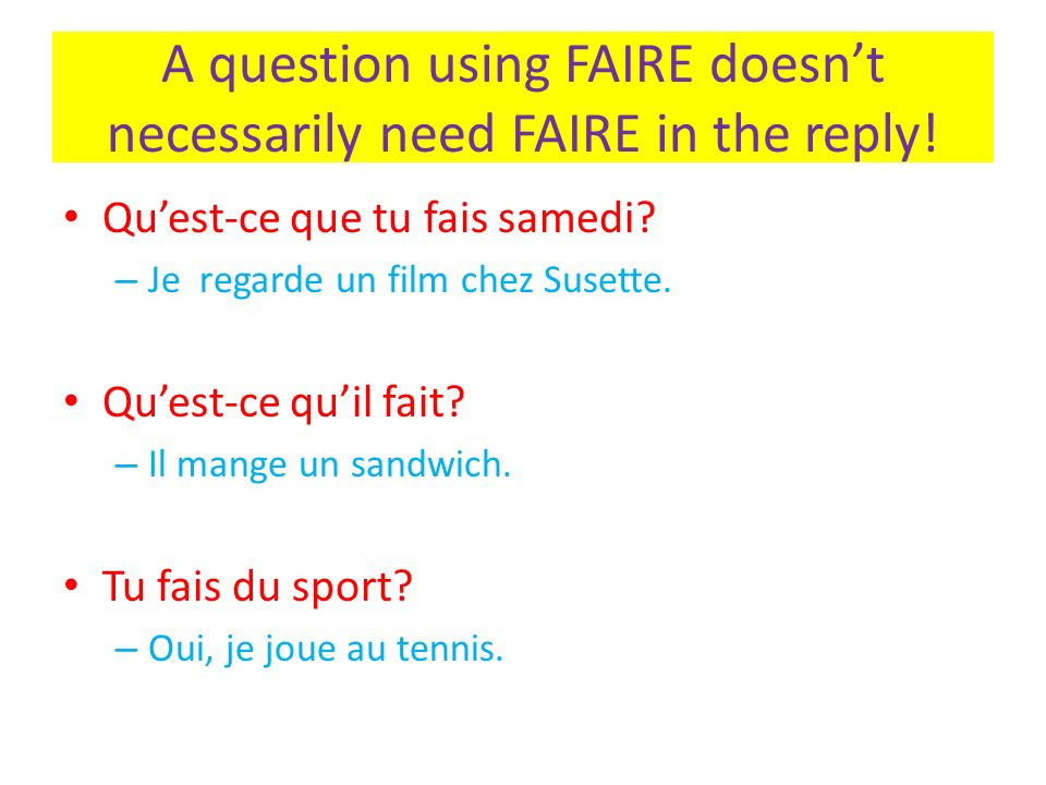 A question using FAIRE doesn't necessarily need FAIRE in the reply!
