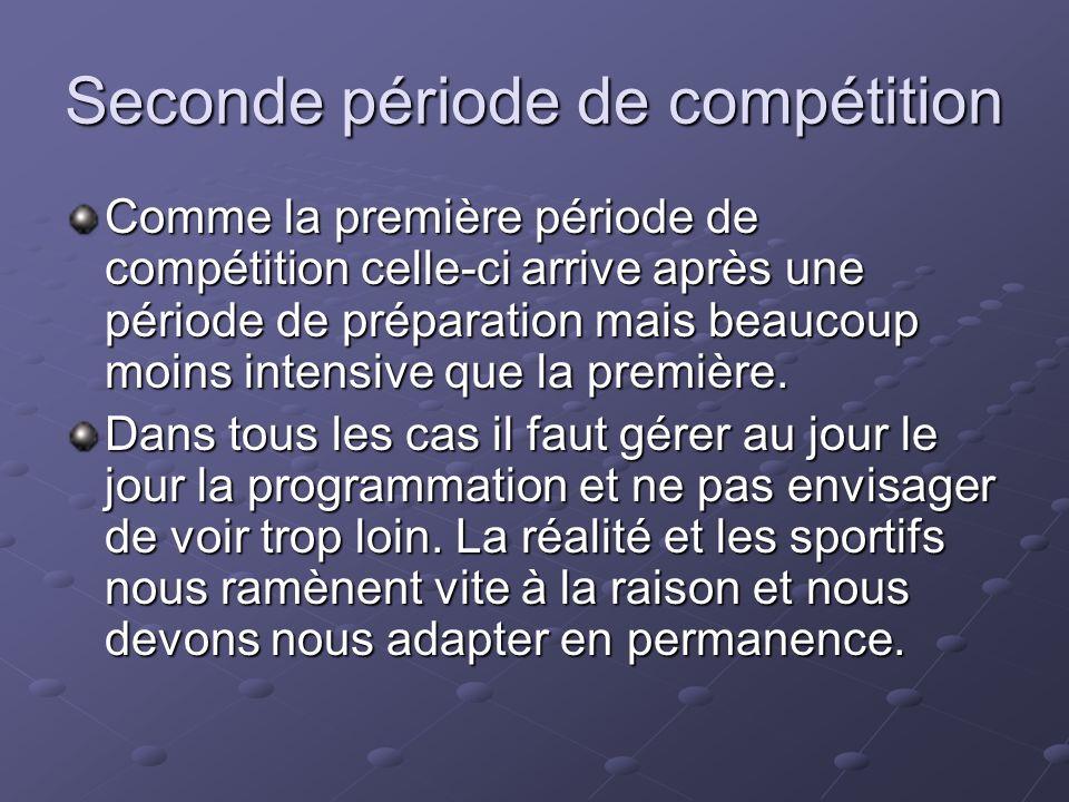 Seconde période de compétition