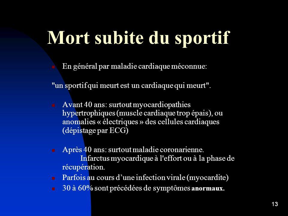 Mort subite du sportif En général par maladie cardiaque méconnue: