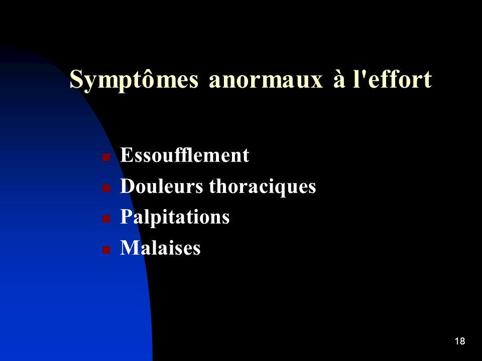 Symptômes anormaux à l effort