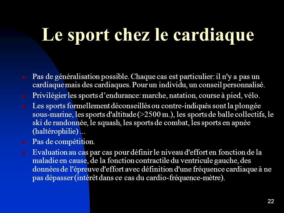 Le sport chez le cardiaque