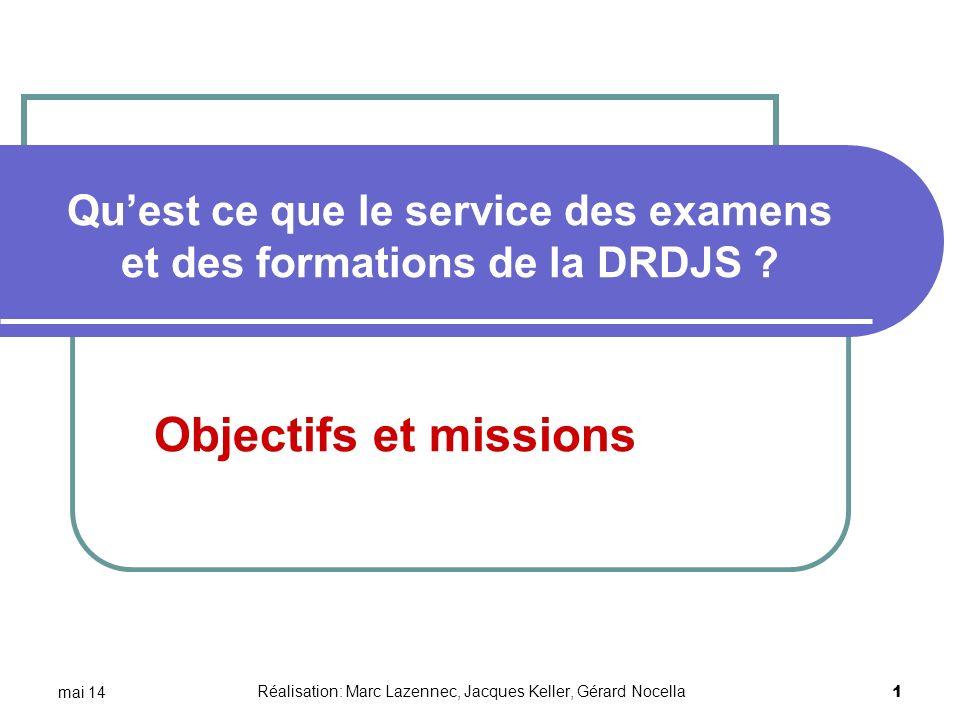 Qu'est ce que le service des examens et des formations de la DRDJS