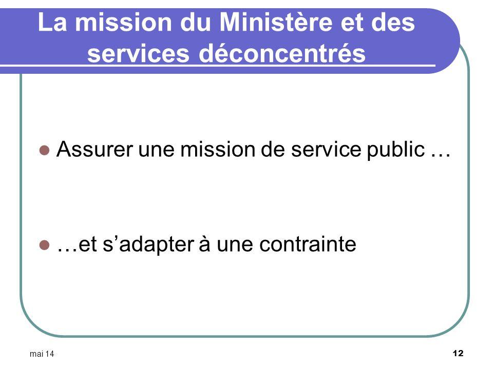 La mission du Ministère et des services déconcentrés