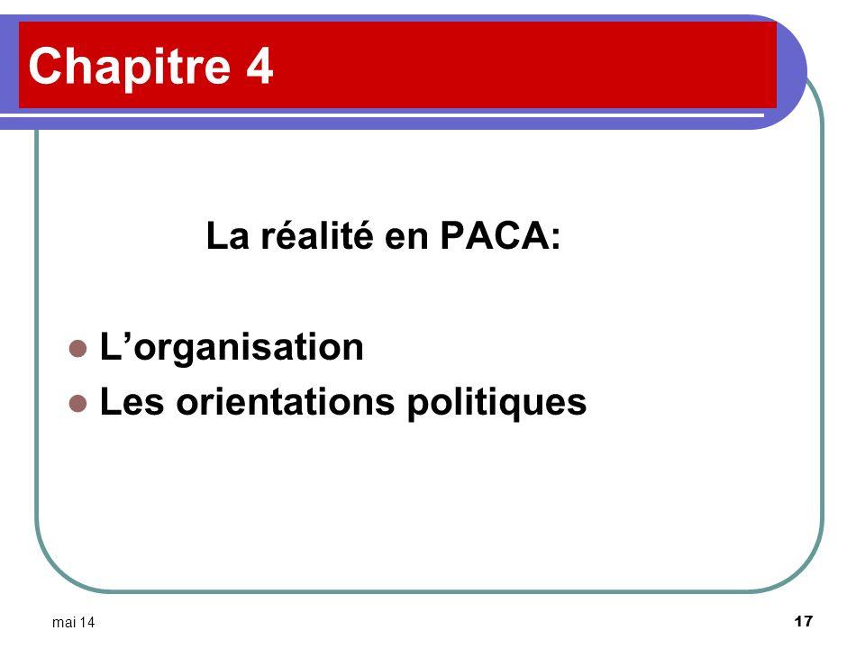 Chapitre 4 La réalité en PACA: L'organisation