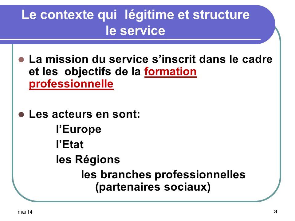 Le contexte qui légitime et structure le service