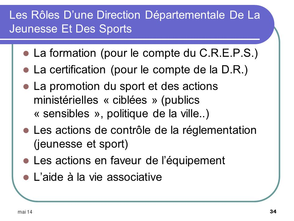 Les Rôles D'une Direction Départementale De La Jeunesse Et Des Sports