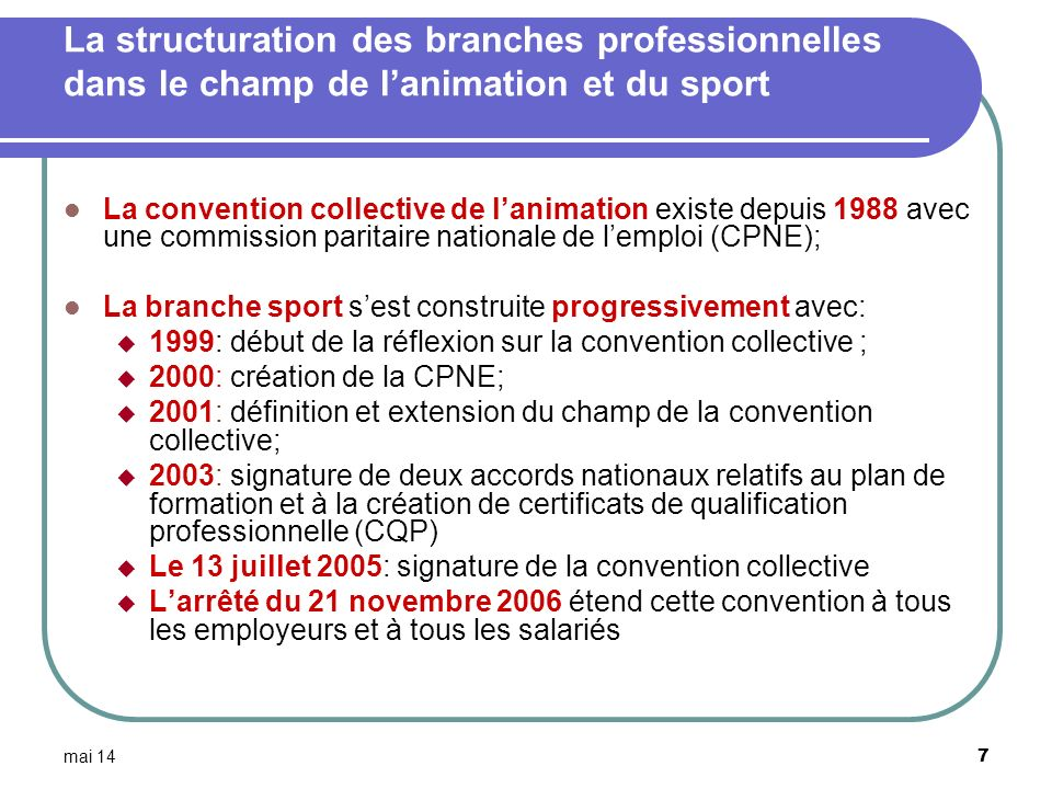 La structuration des branches professionnelles dans le champ de l'animation et du sport