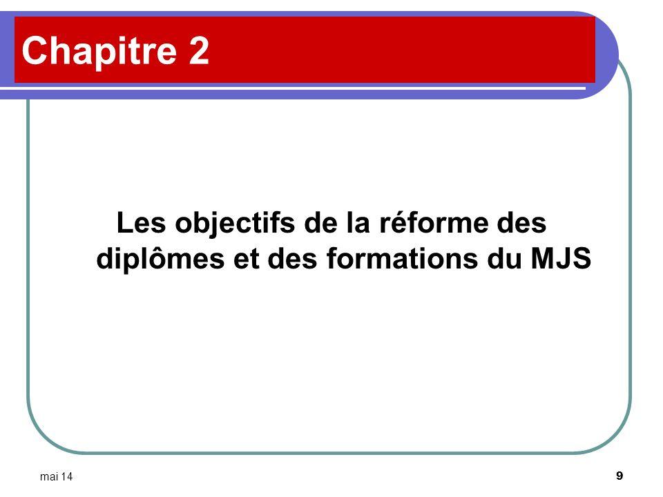 Les objectifs de la réforme des diplômes et des formations du MJS