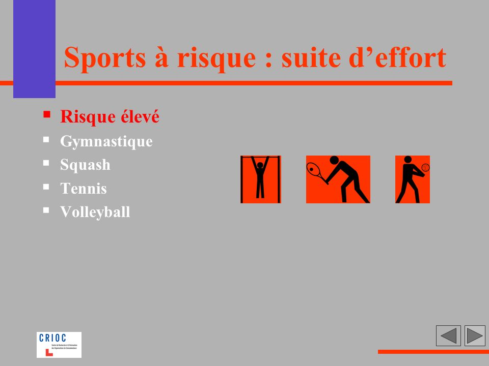 Sports à risque : suite d'effort
