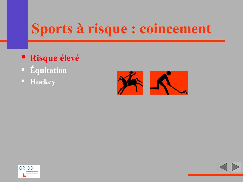 Sports à risque : coincement