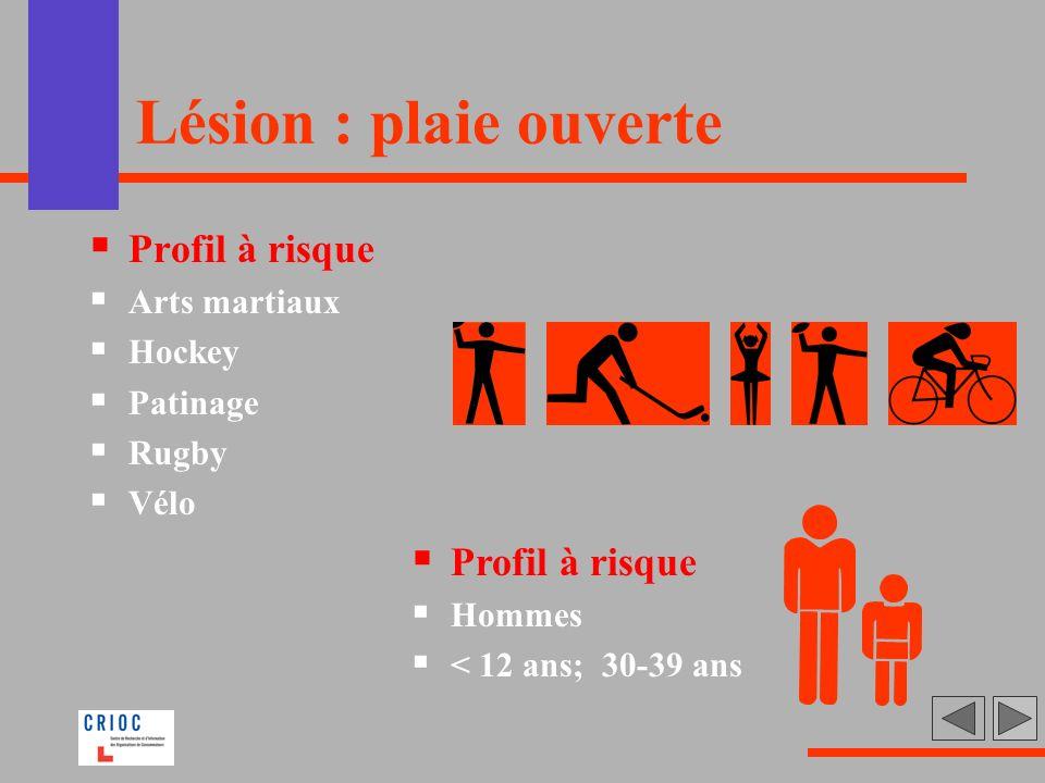 Lésion : plaie ouverte Profil à risque Profil à risque Arts martiaux