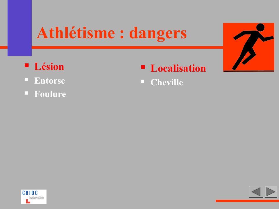 Athlétisme : dangers Lésion Entorse Foulure Localisation Cheville