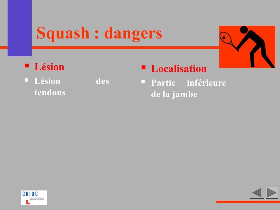 Squash : dangers Lésion Localisation Lésion des tendons