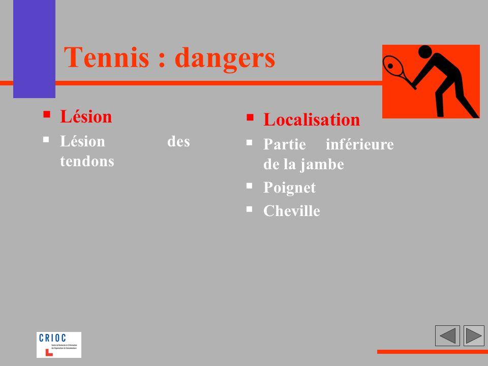 Tennis : dangers Lésion Localisation Lésion des tendons