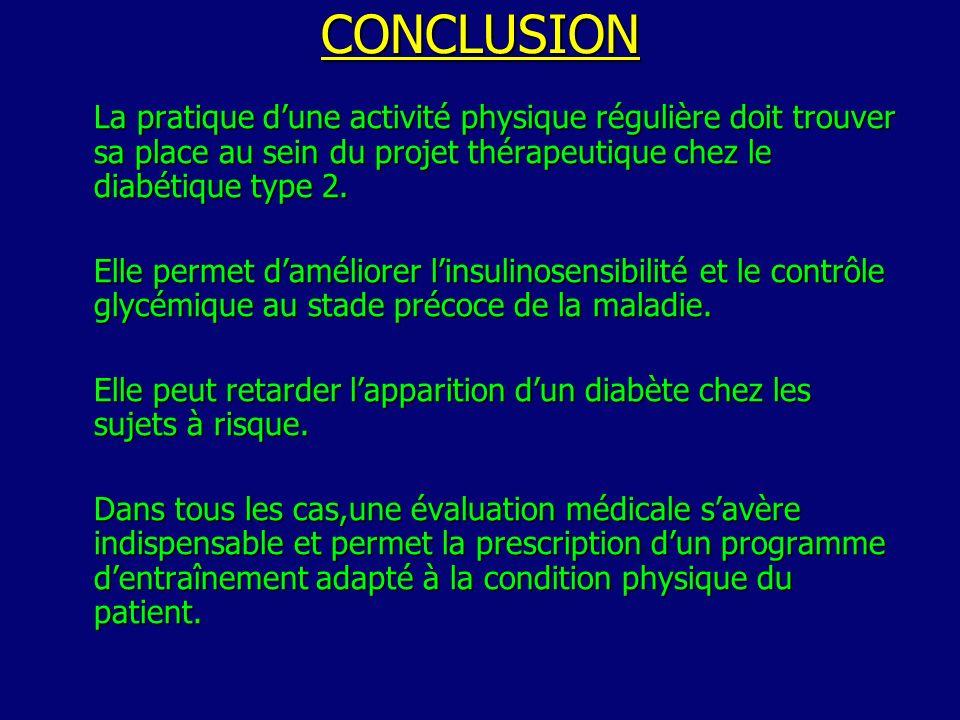 CONCLUSION La pratique d'une activité physique régulière doit trouver sa place au sein du projet thérapeutique chez le diabétique type 2.