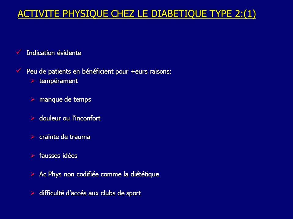 ACTIVITE PHYSIQUE CHEZ LE DIABETIQUE TYPE 2:(1)