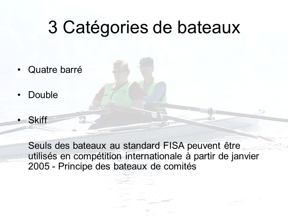 3 Catégories de bateaux Quatre barré Double Skiff