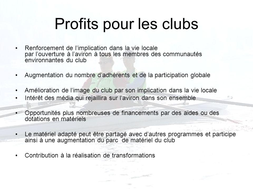 Profits pour les clubs
