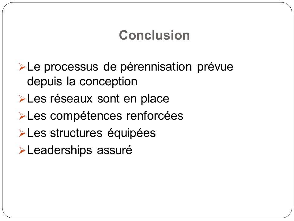 Conclusion Le processus de pérennisation prévue depuis la conception