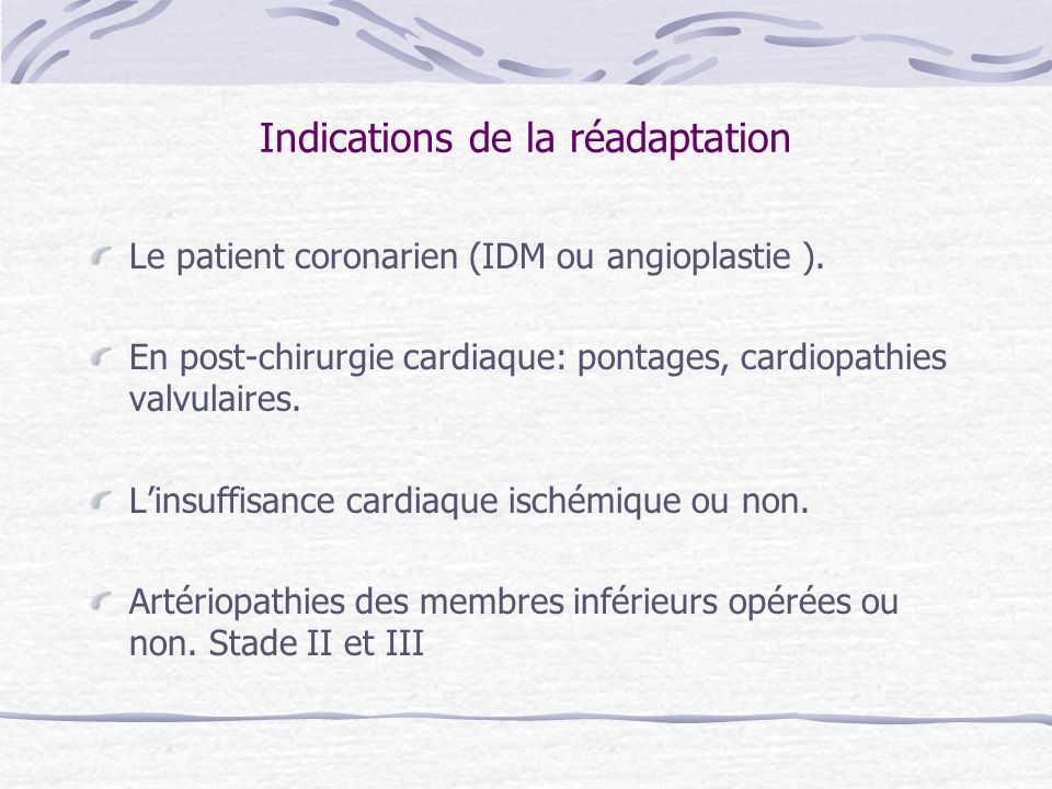 Indications de la réadaptation