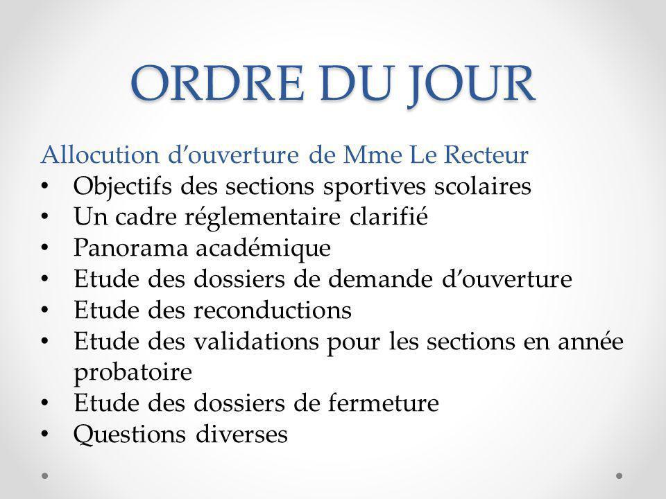 ORDRE DU JOUR Allocution d'ouverture de Mme Le Recteur
