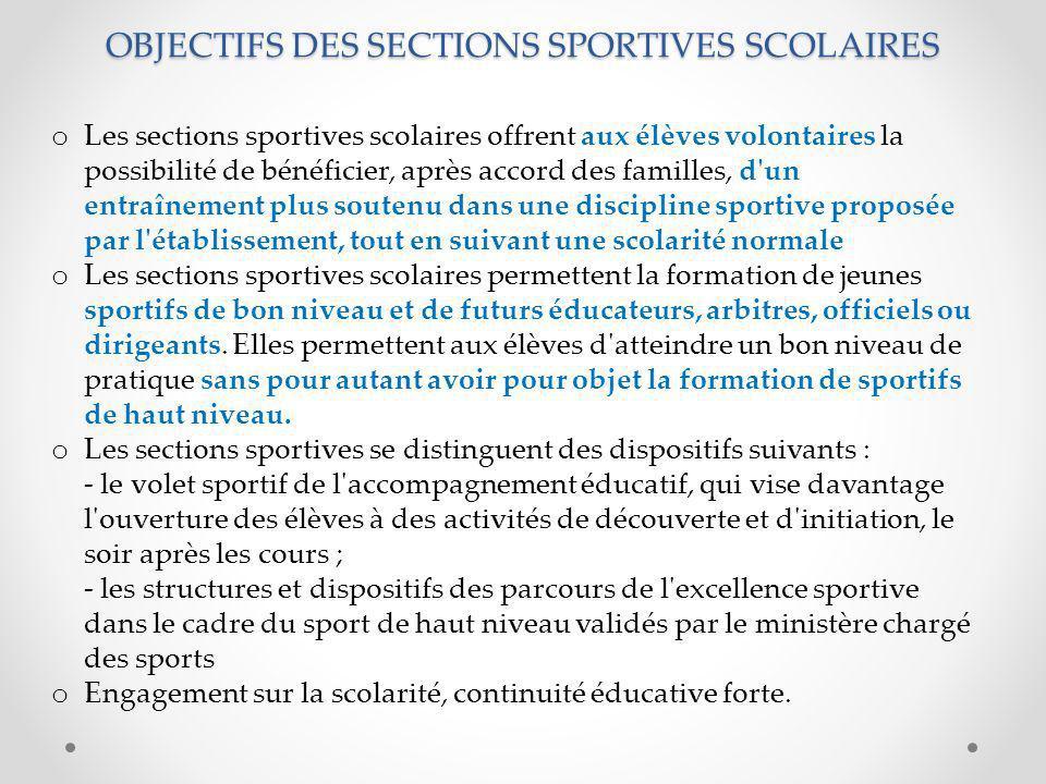 OBJECTIFS DES SECTIONS SPORTIVES SCOLAIRES