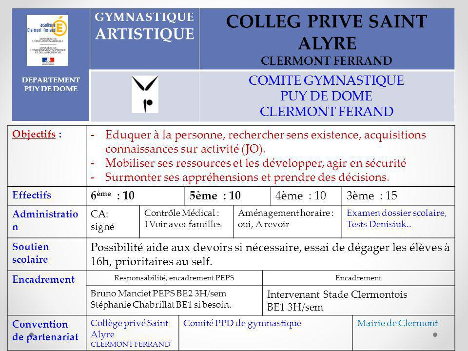 DEPARTEMENT PUY DE DOME COLLEG PRIVE SAINT ALYRE
