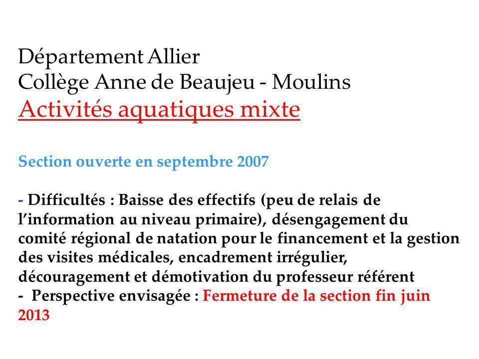Activités aquatiques mixte Section ouverte en septembre 2007