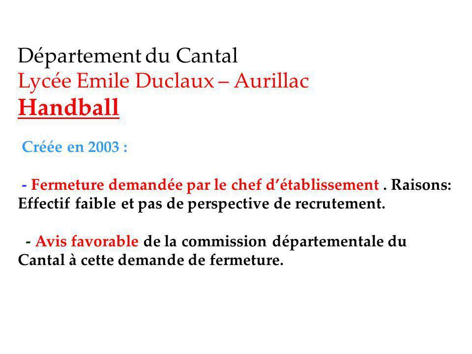 Département du Cantal Lycée Emile Duclaux – Aurillac Handball Créée en 2003 : - Fermeture demandée par le chef d'établissement .