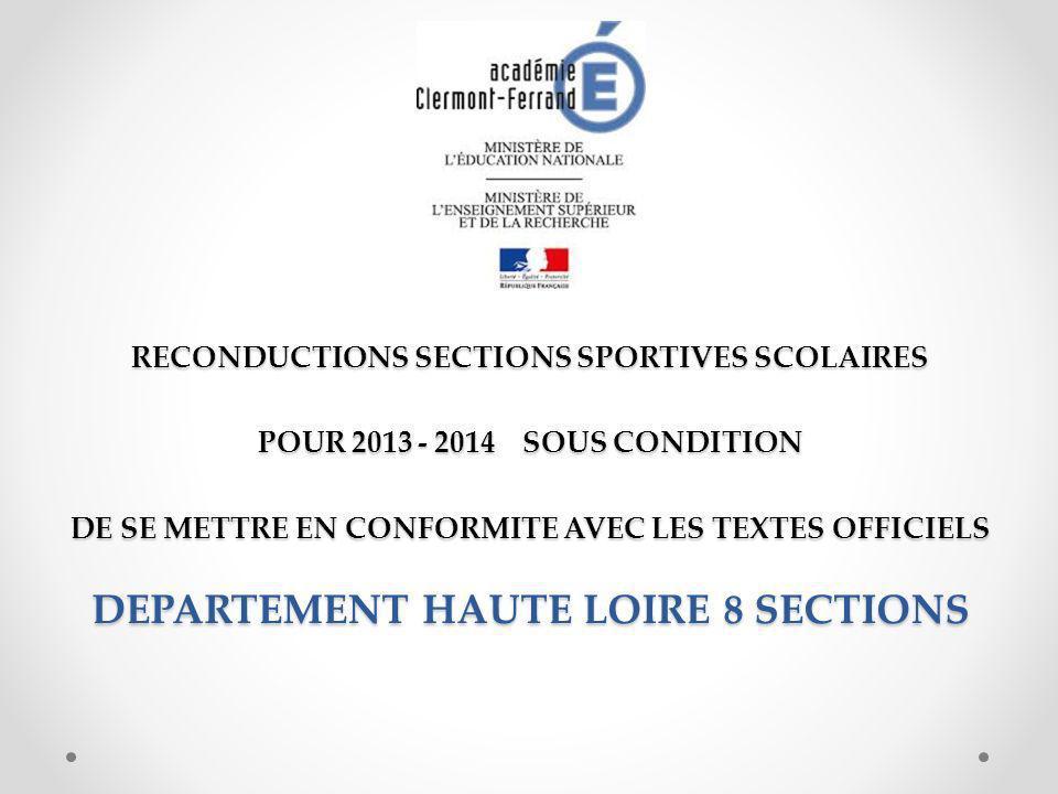 RECONDUCTIONS SECTIONS SPORTIVES SCOLAIRES POUR 2013 - 2014 SOUS CONDITION DE SE METTRE EN CONFORMITE AVEC LES TEXTES OFFICIELS DEPARTEMENT HAUTE LOIRE 8 SECTIONS