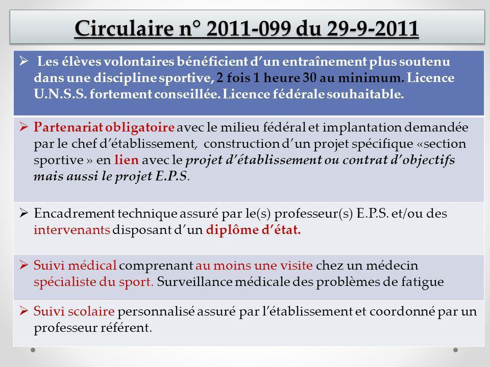 Circulaire n° 2011-099 du 29-9-2011