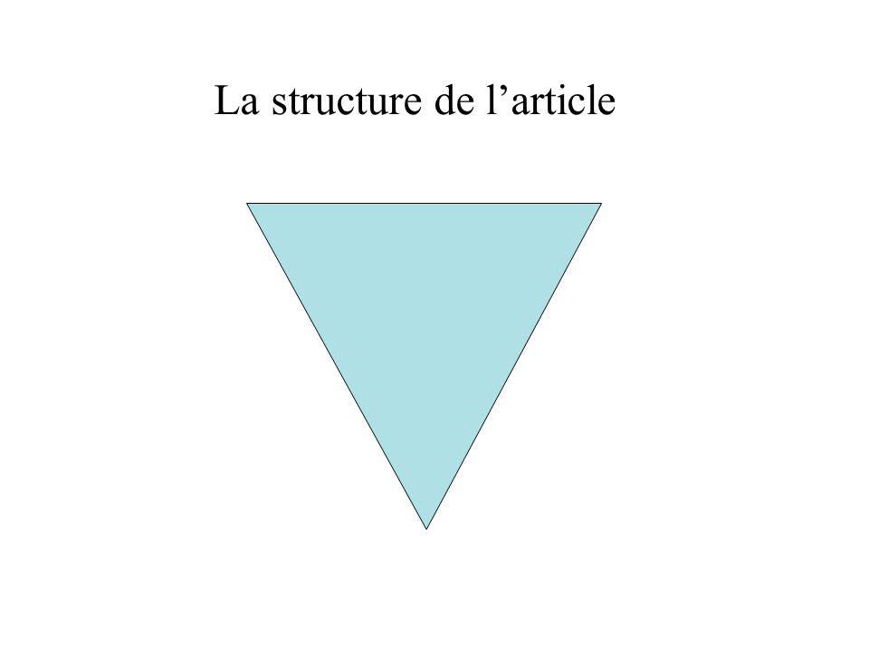 La structure de l'article